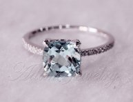 Aquamarine and white gold engagement ring, by AdamJewelry on etsy.com