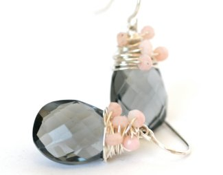 Blush and grey earrings, by WrennJewelry on etsy.com