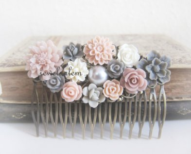 Blush and grey hair comb, by Jewelsalem on etsy.com