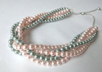 Blush and grey necklace, by CreationDeBijoux on etsy.com