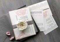Blush and grey wedding invitation, by BeaconLane on etsy.com