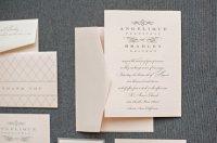 Blush and grey wedding invitation, by LamaWorks on etsy.com