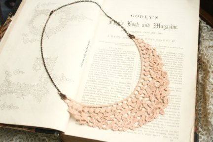 Blush lace necklace, by tinaevarenee on etsy.com