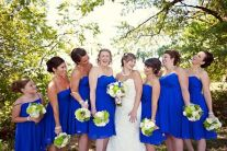 Bridesmaids in cobalt dresses with green and white bouquets {via handmakerofthings.com}