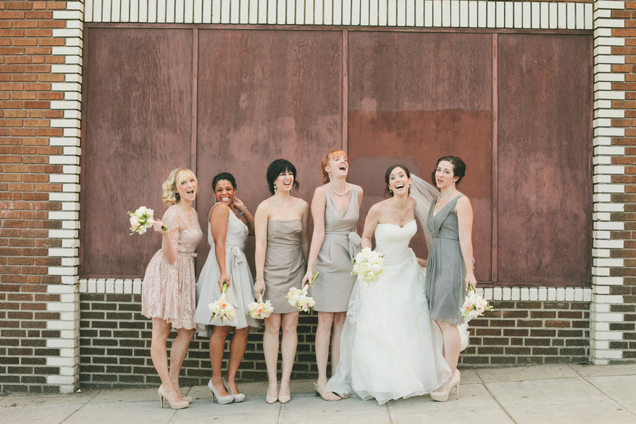 Blush Wedding Dress Grey Bridesmaids : Bridesmaids in mismatched grey and blush dresses via
