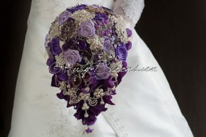 Cascading purple brooch bouquet, by Rubybloomscom on etsy.com