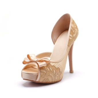 Champagne and gold high heels, by ChristyNgShoes on etsy.com