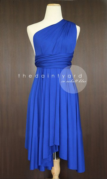 Cobalt convertable bridesmaid dress, by thedaintyard on etsy.com