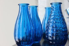 Cobalt vases for centrepieces, by RockNDhol on etsy.com