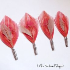 Coral feather boutonnieres, by TheHeadbandShoppe on etsy.com