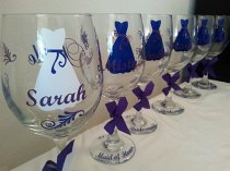 Customised bride and bridesmaid wine glasses, by Customforless on etsy.com