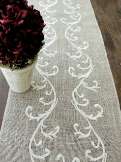 Embroidered burlap table runner, by HotCocoaDesign on etsy.com