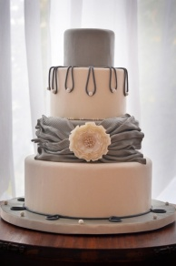 Grey and blush wedding cake {via cakecentral.com}
