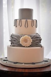 Grey and blush wedding cake {via cakecentral.com}