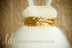 Ivory and gold flower girl dress, by littledreamersinc on etsy.com