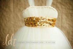 Ivory and gold flower girl dress, by littledreamersinc on etsy.com