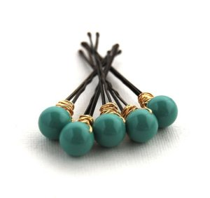 Jade bobby pins, by LoveandCherish on etsy.com