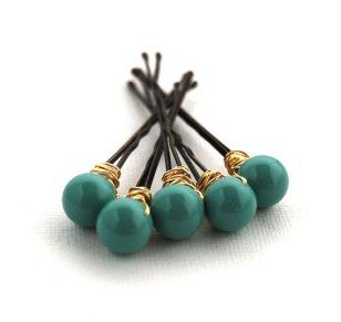 Jade bobby pins, by LoveandCherish on etsy.com