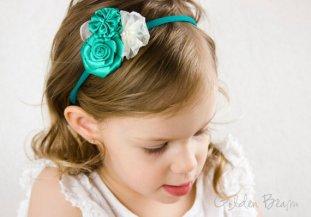 Jade flower girl headband, by GoldenBeam on etsy.com