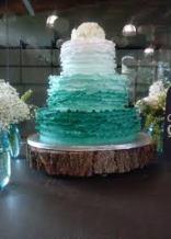 Jade ombre ruffle wedding cake {via cakesbysocorro.com}