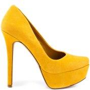 Jessica Simpson mustard suede heels, from heels.com