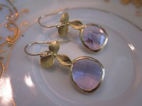 Lavender and gold earrings, by laalee on etsy.com