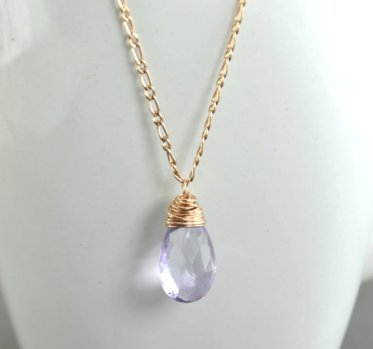 Lavender and gold necklace, by BelleReveDesign on etsy.com