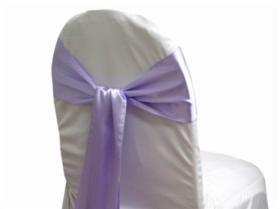 Lavender chair sashes, by Bellsandshowers on etsy.com