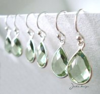 Light green bridesmaid earrings, by JackieDesign on etsy.com