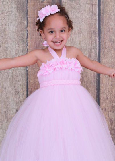 Light pink flower girl dress, by Cutiepatootiedesignz on etsy.com