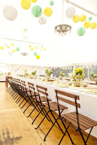 Marquee reception in mint and mustard colours {via etsy.com wedding blog}
