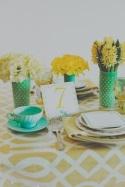 Mint and mustard table setting inspiration {via jesihaackweddingsblog.com}