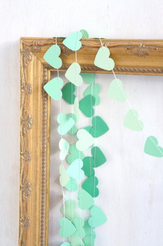 Mint heart garland, by ByPennyLaneStudio on etsy.com
