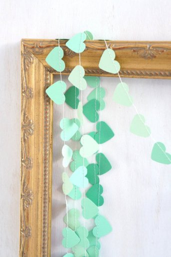 Mint heart garland, by ByPennyLaneStudio on etsy.com