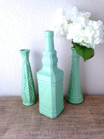 Mint upcycled vases, by STITCHandCABOODLE on etsy.com