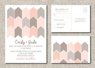 Modern blush and grey wedding invitation, by TwineandTrue on etsy.com