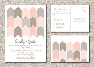 Modern blush and grey wedding invitation, by TwineandTrue on etsy.com