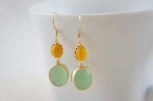 Mustard and mint earrings, by RainRainRain on etsy.com