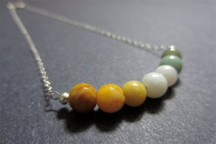 Mustard and mint ombre necklace, by sageandolivia on etsy.com