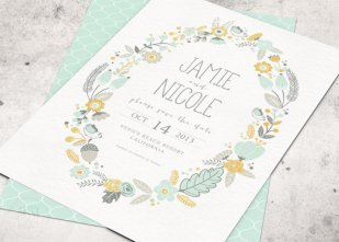 Mustard and mint wedding invitation, by ArtsyDesignCo on etsy.com