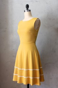 Mustard bridesmaid dress with white trim, by FleetCollection on etsy.com
