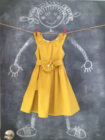 Mustard flower girl dress, by BabySuzannaJohanna on etsy.com