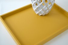 Mustard wooden centrepiece tray, by GleamingRenditions on etsy.com