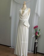 Old Hollywood glamour cowl-neck bridal gown, by EllanaCouture on etsy.com