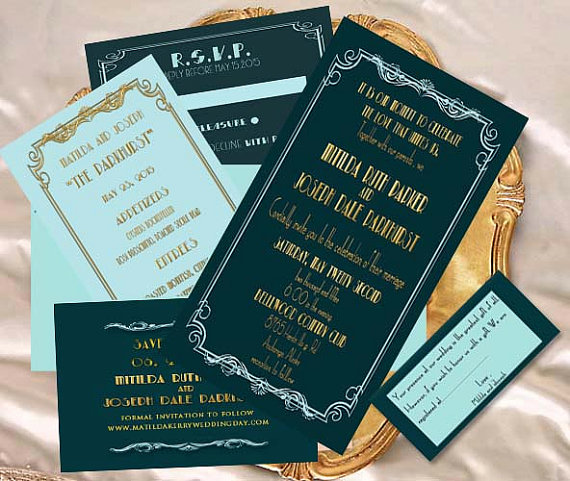 old hollywood glamour wedding invitation by