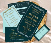 Old Hollywood glamour wedding invitation, by CreativeArtbySheila on etsy.com