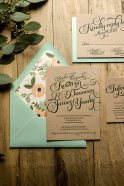Peach and mint wedding invitation, by FlairNecessities on etsy.com