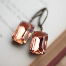Peach bridal earrings, by NotOneSparrow on etsy.com