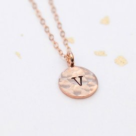 Rose gold initial pendant, by adorn512 on etsy.com