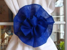 Royal blue burlap flower decoration, by superbuy4j on etsy.com